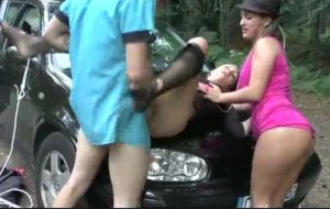 Hot girl forced by gangsters and the wife of boss