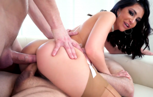 Dirty brunette girl receives two cocks in her asshole
