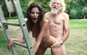 Grandpa fucks a super hot young girl and gives her a facial cumshot