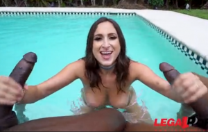 BBC-lover rides a floatie before rough DP