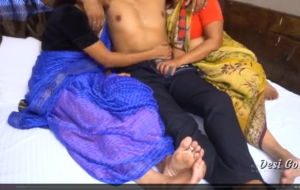 Two Real Desi Bhabhi Fuck By Single Young Boy