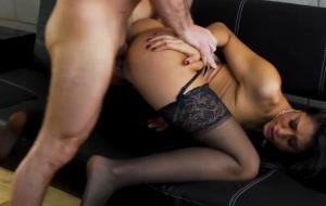 🐇 Adorable brunette Lyla Storm is enjoying intensive dick-riding