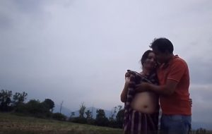 big navel aunty boob press in street