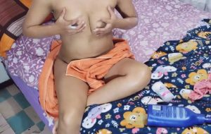 Desi Bhabhi After Shower Massaging Boobs With Lotion