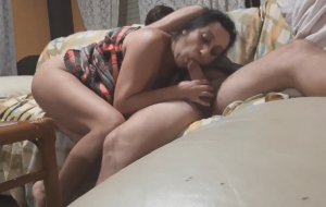Sweet Desi Bhabhi Slurping Blowjob To Her White Lover