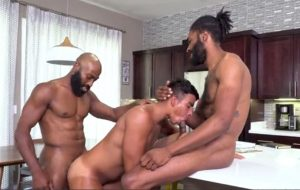 Energized anal sex in interracial threesome for a young twink