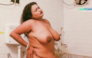 Chubby, Indian milf is playing with herself in the bathroom, while thinking about her lover