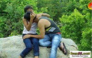 Indian girl having romp with her acquaintance in jungle before marage